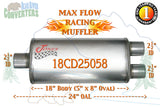 "18CD25058 Jones MF2268 Max Flow Racing Muffler 18"" Oval Body 2 1/2"" 2.5"" Pipe Center/Dual 24"" OAL - Bear River Converters"