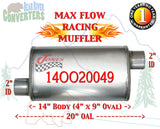 "14OO20049 Jones MF1234 Max Flow Racing Muffler 14"" Oval Body 2"" Pipe Offset/Offset 20"" OAL - Bear River Converters"