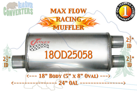 "18OD25058 Jones MF2265 Max Flow Racing Muffler 18"" Oval Body 2 1/2"" 2.5"" Pipe Offset/Dual 24"" OAL - Bear River Converters"