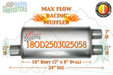 "18OD2503025058 Jones MF2267 Muffler Max Flow Racing 18"" Oval 2 1/2""Offset/3""& 2.5"" Dual Pipe 24"" OAL - Bear River Converters"