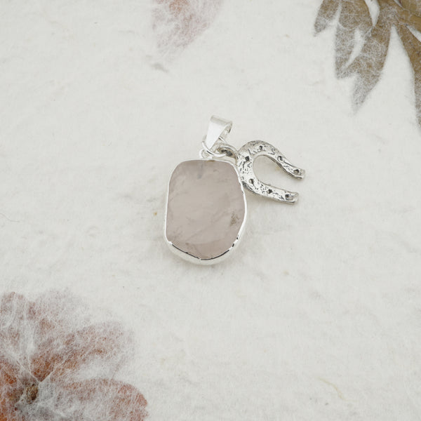 Rose Quartz Pendant w/ Horseshoe - Silver Trim