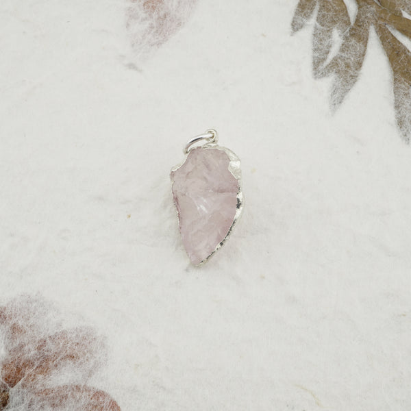 Rose Quartz Pendant - Silver Trim