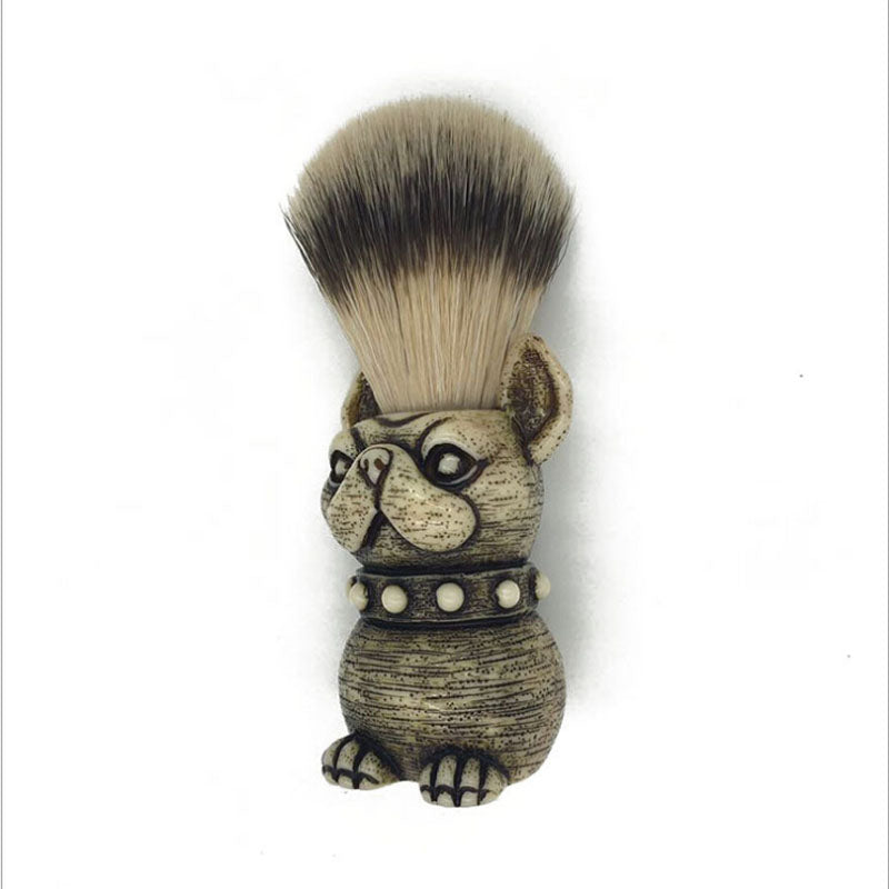 Dog Head shaving brush, Bulldog Shaving brush, Dragon's Gold Dog Shaving Brush