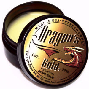 Dragon's Gold Premium Beard Balm 2 oz, Beard Balm, Beard Balm Premium, Premium Beard Balm, Beard Balm Premium, Dragon's Gold, Hunter's Journey LLC, Beard Care Products, Protects your beard, Grows a beard fast, Healthy beard hair, Best beard balm, best beard care products, Bomb ass beard balm, Beardfection, 2oz beard balm, Gifts for men, Gift for bearded men, What to get him for xmas, gifts for men, mustache wax, facial hair care, beard oil, best beard oil