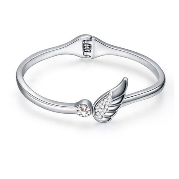Angel Wing Bangle With Crystal And White Gold-Plated Alloy