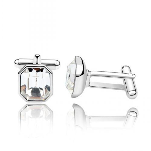 Cuff Links With Swarovski Elements in Gold-Plated Alloy