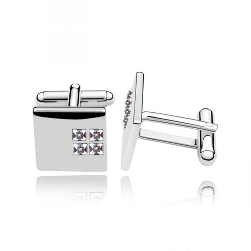 Square Cuff Links With Swarovski Elements in Gold-Plated Alloy
