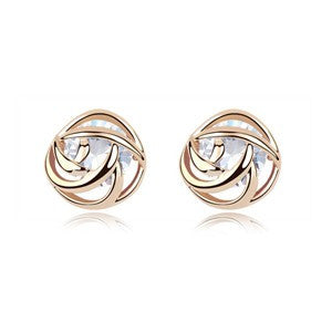 Rose Earrings With AAA Zirconia Inside