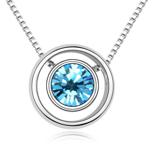 Ring Pendant Necklace With Blue Crystal And White Gold-Plated Metal
