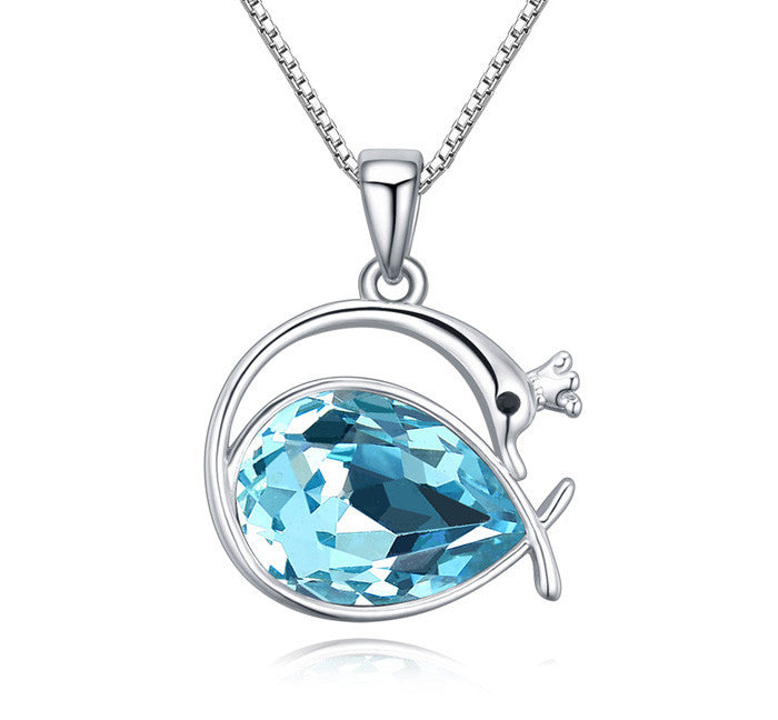 Swan Princess Pendant Necklace With Light Blue Swarovski Crystal Element And White Gold-Plated Metal