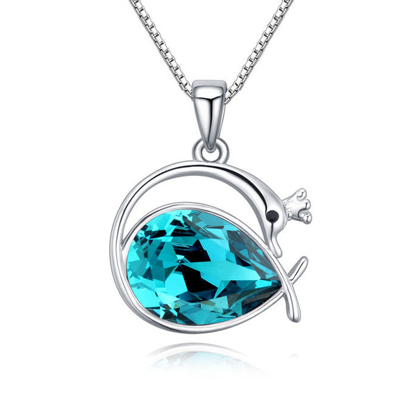 Swan Princess Pendant Necklace With Blue Swarovski Crystal Element And White Gold-Plated Metal