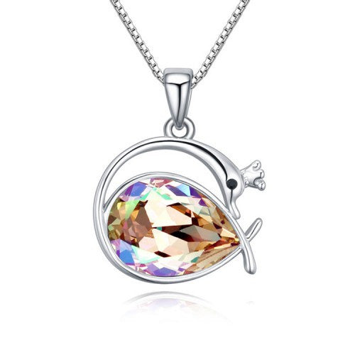Swan Princess Pendant Necklace With Luminous Green Swarovski Crystal Element And White Gold-Plated Metal