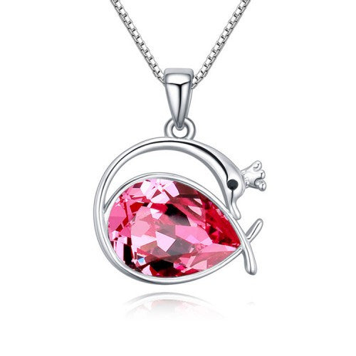 Swan Princess Pendant Necklace With Rose Red Swarovski Crystal Element And White Gold-Plated Metal