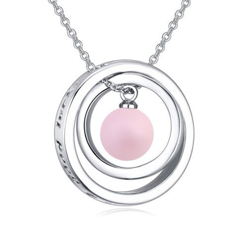 Ring Pendant Necklace With Swarovski Element Pearl And White Gold-Plated Metal