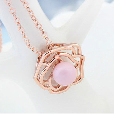 Rose Pendant With Swarovski Element And Rose Gold-Plated Metal Necklace