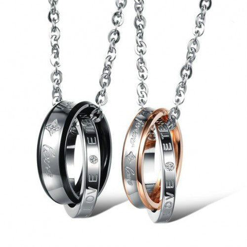 Duo Ring Pendant Necklace of Lovers With Crystal And Stainless Steel