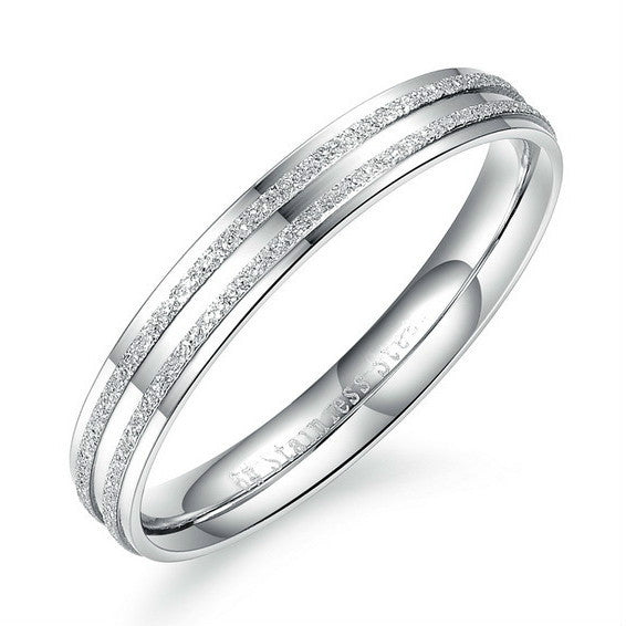 Couple Rings Frosting Design in Stainless Steel