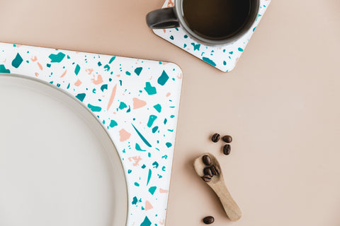 MAiK White Rectangle Terrazzo Placemat