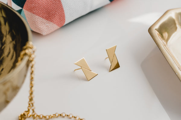 Union Triangles gold studs