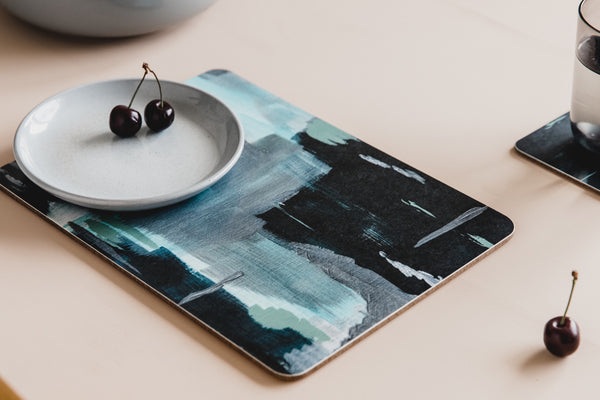 Abstract blue placemat set