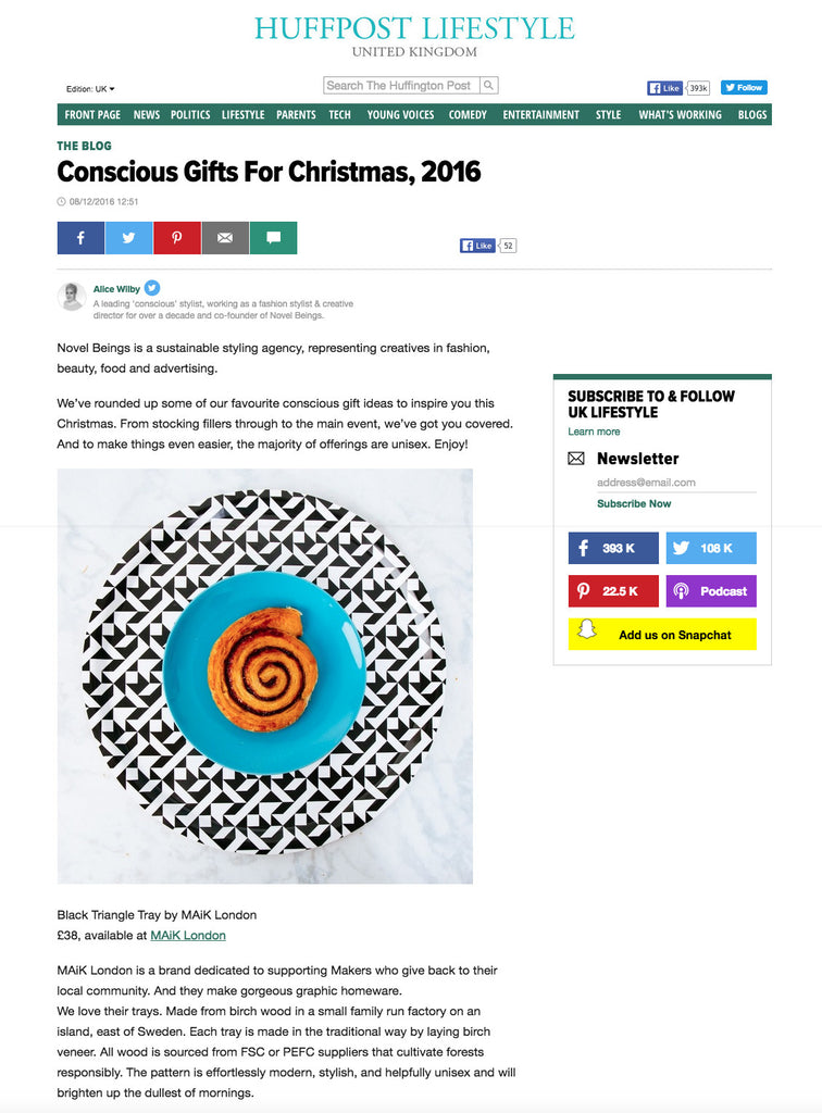 MAiK London's black and white birch tray featured in the Huffington Post's Christmas Gift Guide.