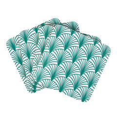 Organic melamine coasters with an art deco print.