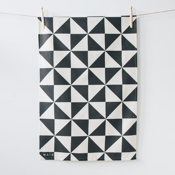 geometric organic cotton tea towel