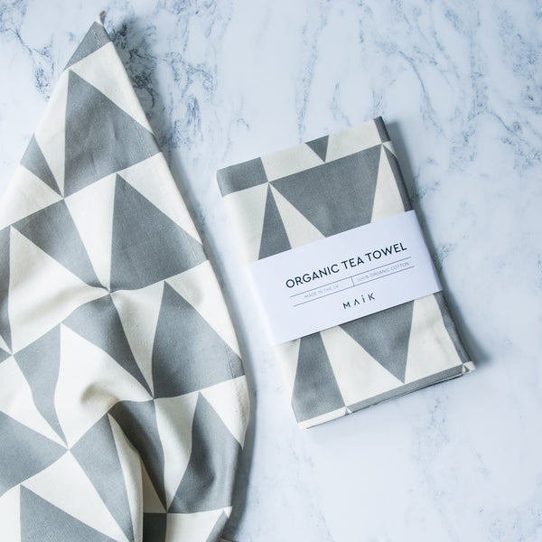 grey organic cotton tea towel