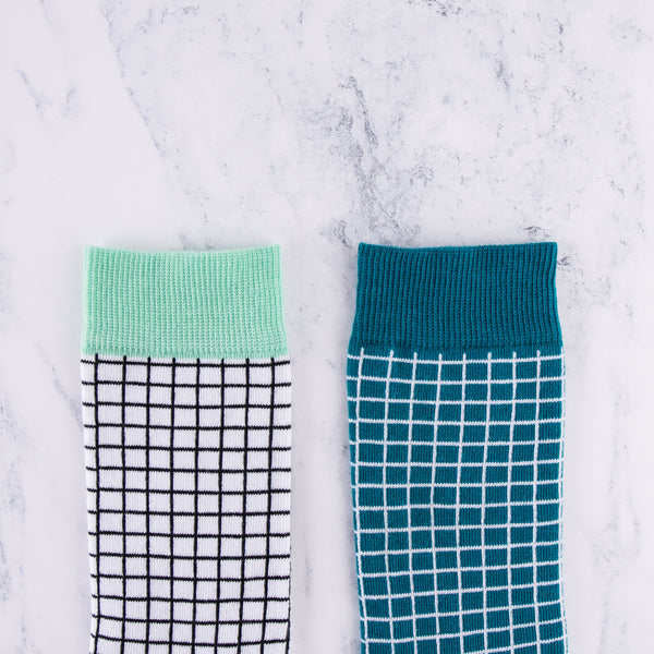 Ethical Cotton Check Print Socks, new for SS18