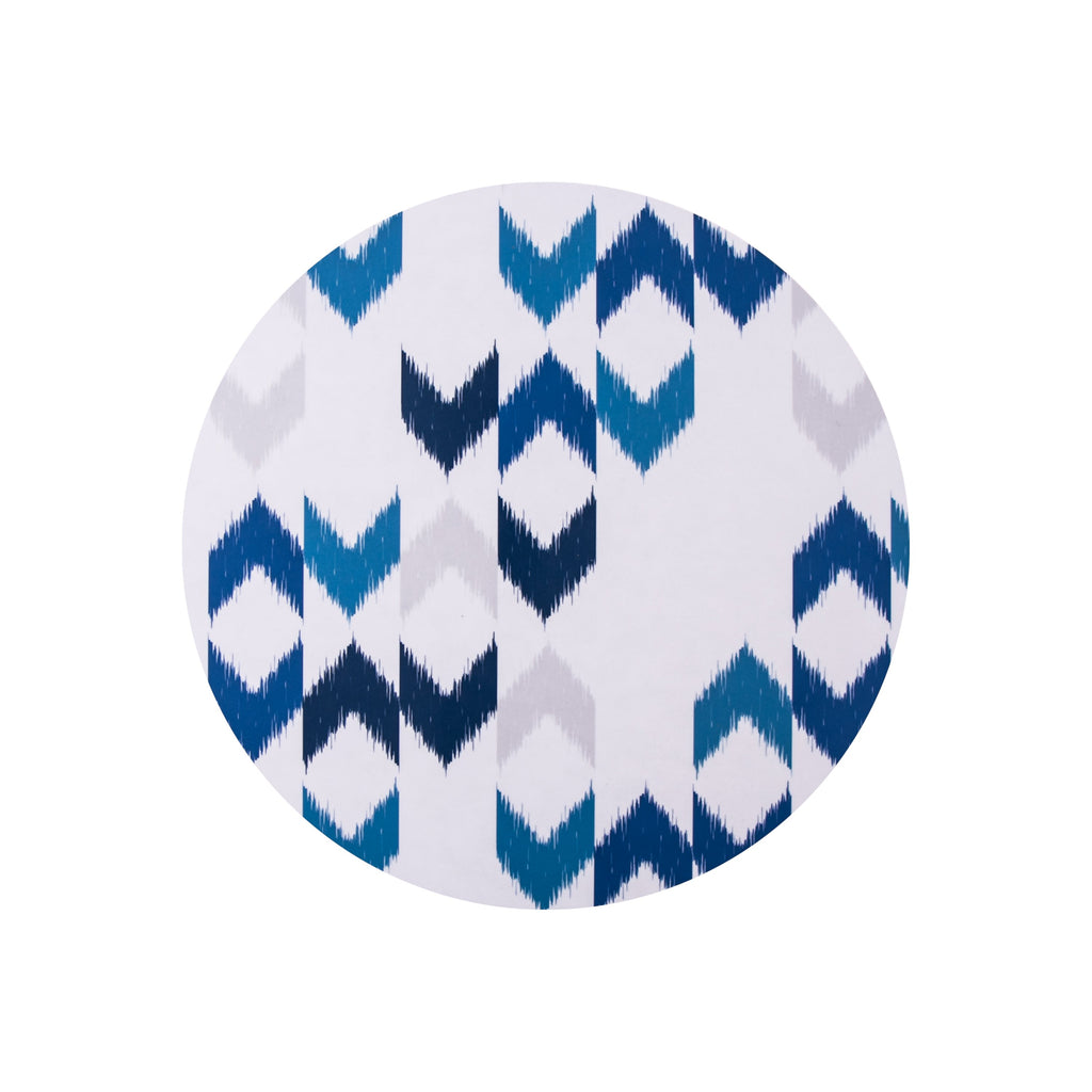 Blue Ikat Round Placemat - MAiK sustainably sourced, ethically produced.