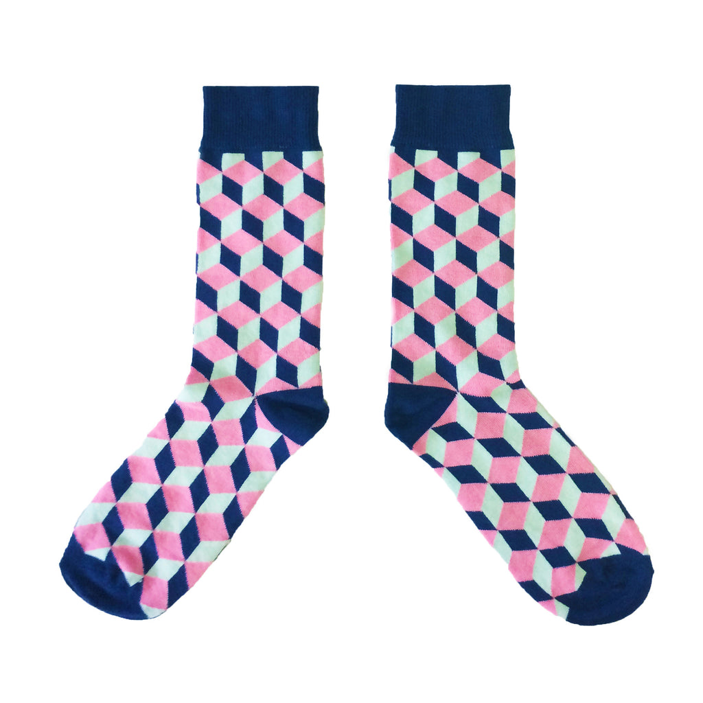 Blue Cube Socks - MAiK sustainably sourced, ethically produced.