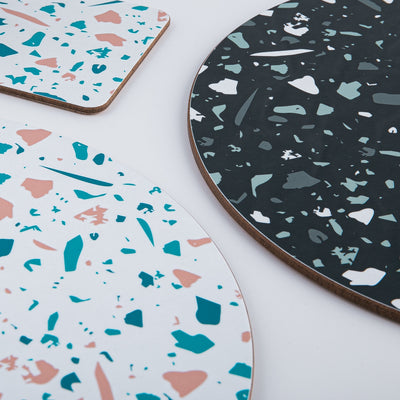 White Terrazzo Round Placemat Set - MAiK sustainably sourced, ethically produced.