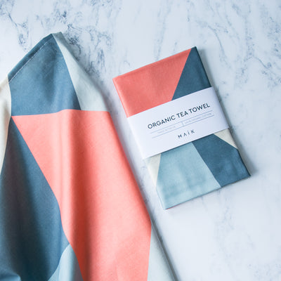Coral Angles Organic Cotton Tea Towel - MAiK sustainably sourced, ethically produced.