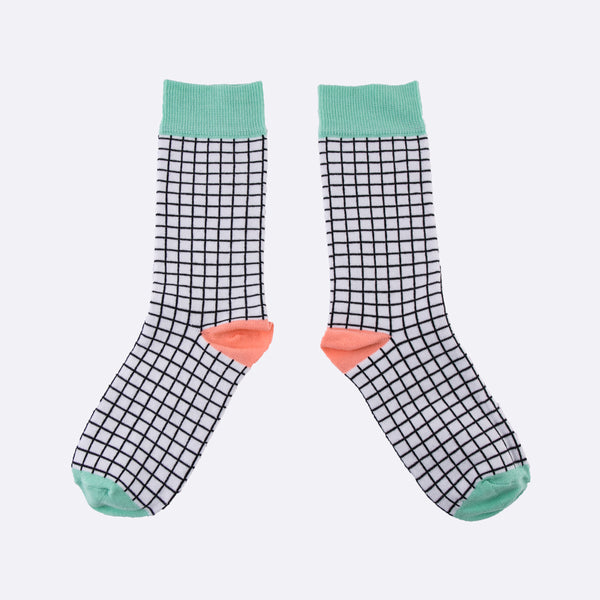 black and white check print socks. New for SS18.