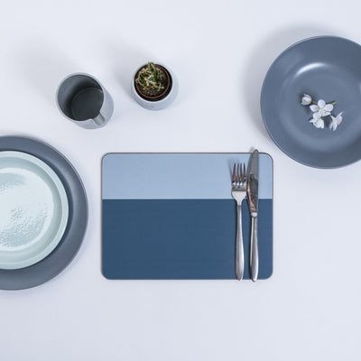 Blue Halves Square Coaster - MAiK sustainably sourced, ethically produced.