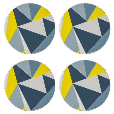Yellow Angles Round Coaster - MAiK sustainably sourced, ethically produced.