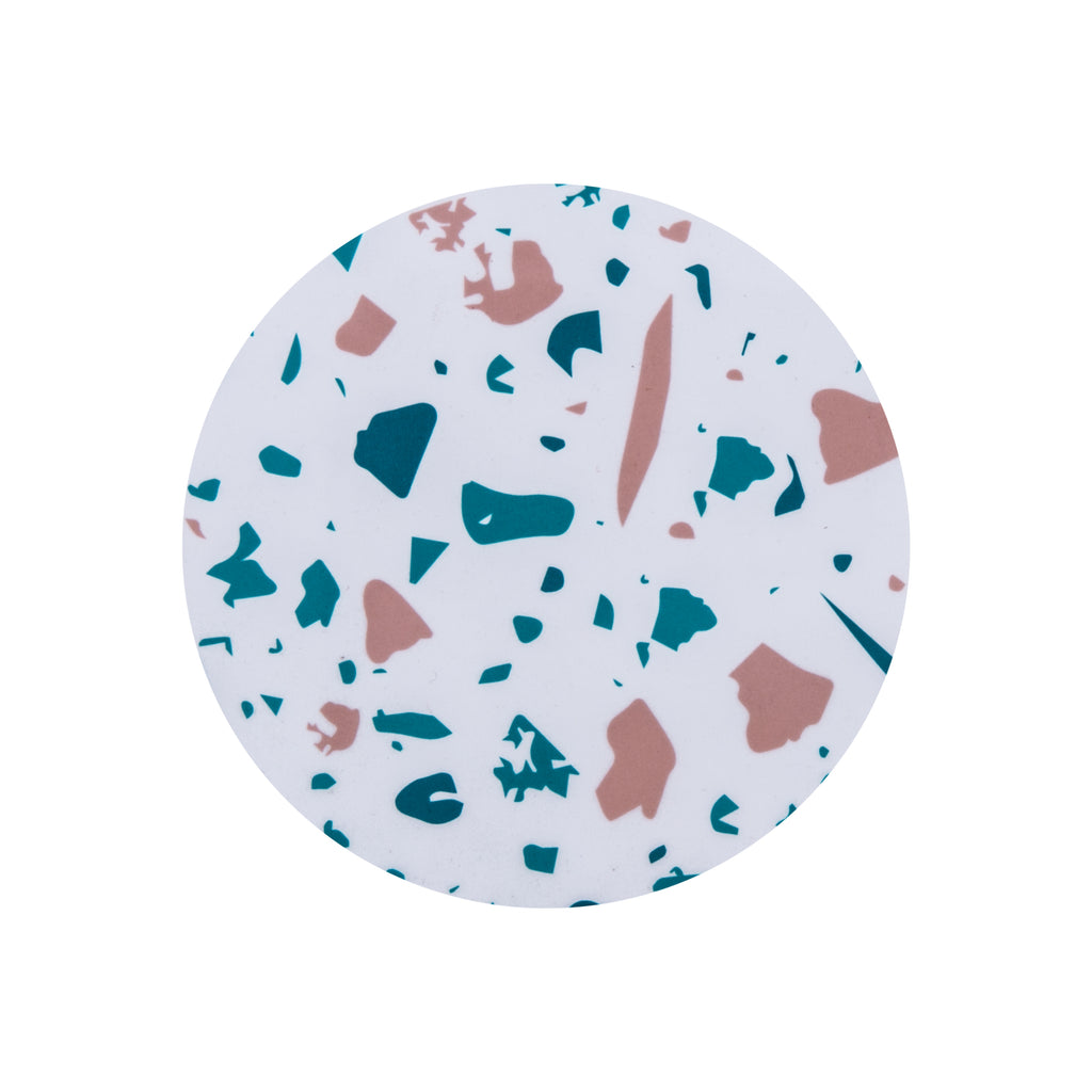 White Terrazzo Round Coaster - MAiK sustainably sourced, ethically produced.