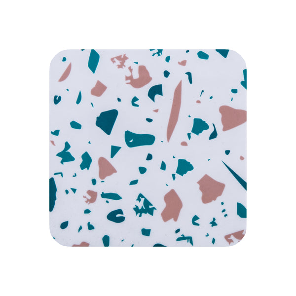 White Terrazzo Square Coaster - MAiK sustainably sourced, ethically produced.