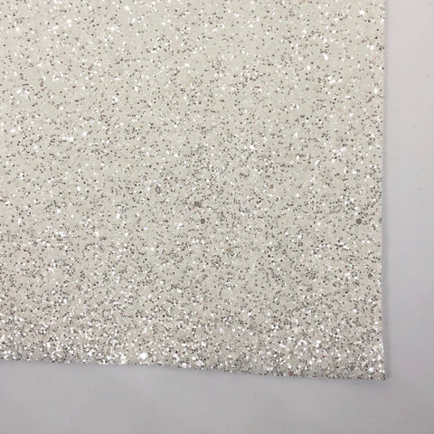 Pure White Sherbet Specialty Glitter Fabric Sheet -SPANDEX BACK