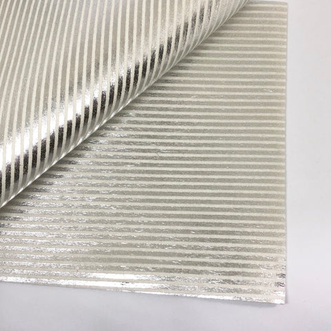 Metallic Silver Stripe on White 100% Wool Felt - 8x12""