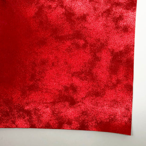 Red Metallic Patina Faux Leather