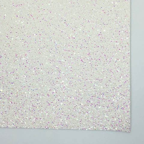 Iridescent White Premium Chunky Glitter Fabric Sheet