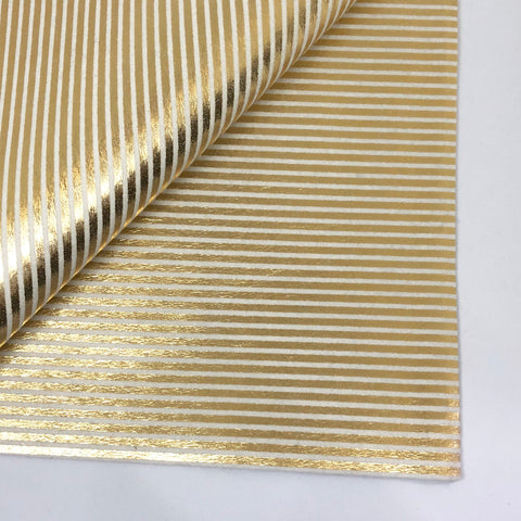 Metallic Gold Stripe on Ivory 100% Wool Felt - 8x12""