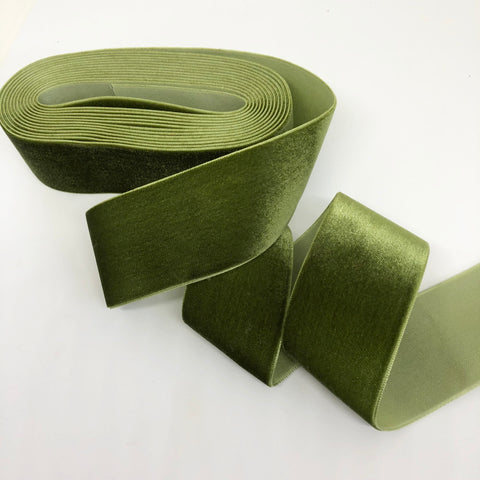 Olive Velvet Ribbon - 1 and a Half Inch