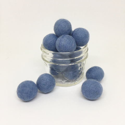 Light Wash 100% Wool Felt Balls - 2cm
