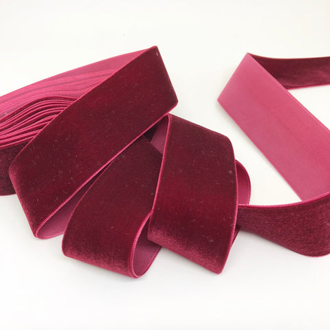 Cranberry Velvet Ribbon - 1 and a Half Inch