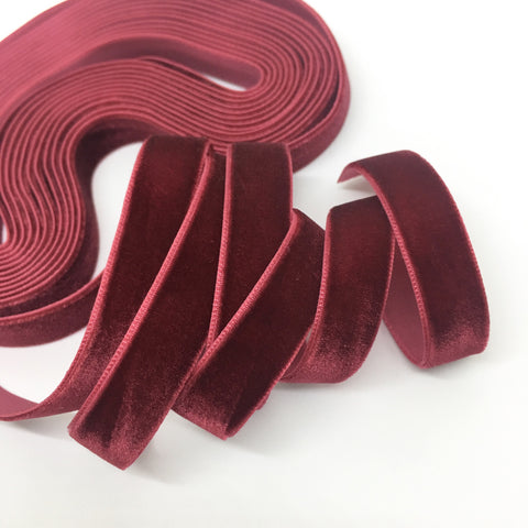 Cranberry Velvet Ribbon - 1/2 inch