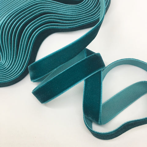 Teal Velvet Ribbon - 1/2 inch