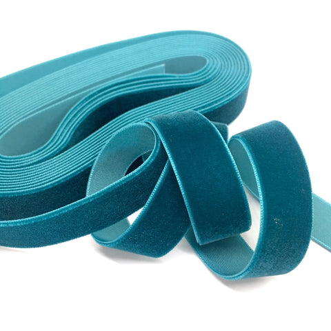Teal Velvet Ribbon - 3/4 inch