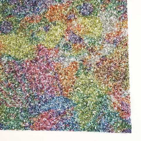 Watercolor Rainbow Specialty Glitter Fabric Sheet